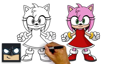 draw amy rose sonic  hedgehog youtube