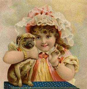 cute, vintage, girl, with, pug, image