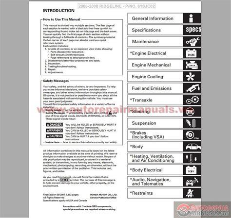 auto repair manual online 2011 honda ridgeline engine control 2009 honda ridgeline manual