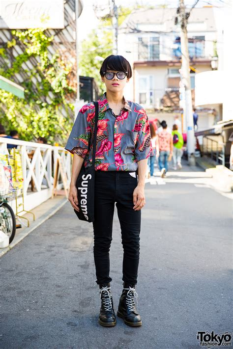 harajuku guy  vintage floral shirt skinny jeans dr martens supreme tokyo fashion