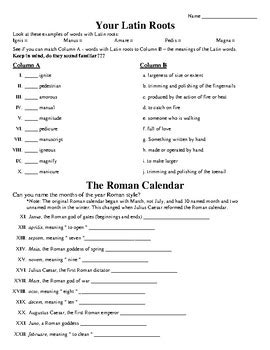 Latin Root Words Worksheets  Kidz Activities