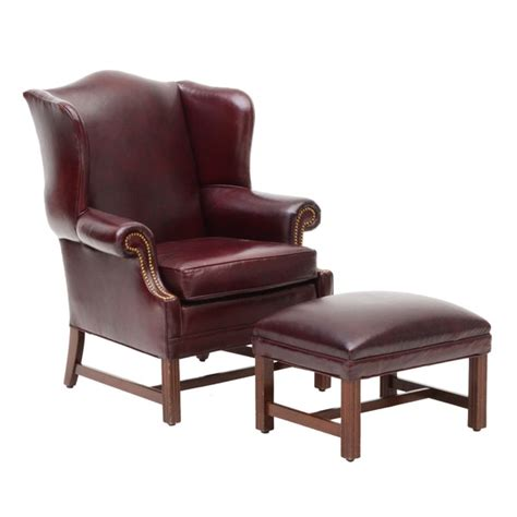style burgundy leather chair and ottoman wvxu