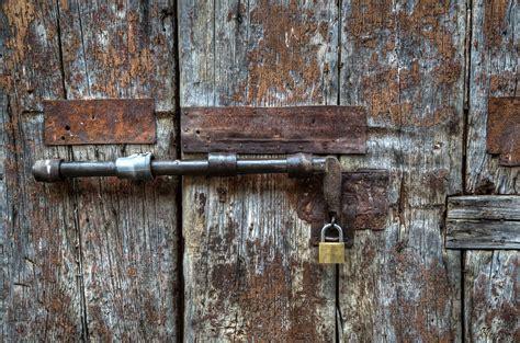 photo door wood lock rust corrosion  image