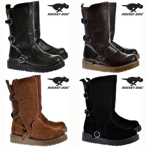 womens brown biker boots womens ladies rocket dog jed biker boots buckles black