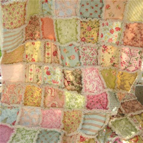 shabby chic rag blanket rag quilt large lap size throw from peppersattic on etsy in
