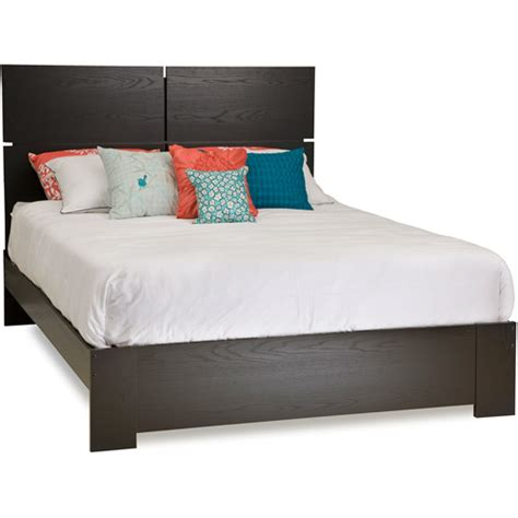 south shore mikka queen platform bed and headboard black