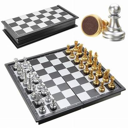Chess Board Silver Gold Pieces Magnetic Folding