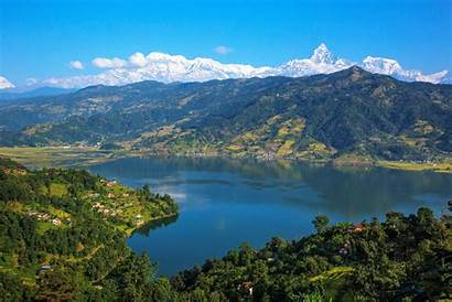 Nepal Pokhara Phewa Lake Annapurna India Range