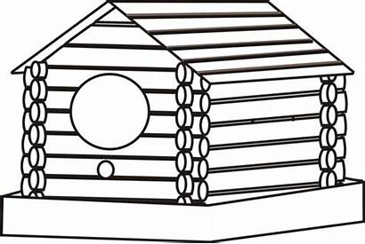 Cabin Coloring Log Pages Birdhouse Woods Cliparts