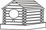 Cabin Coloring Log Birdhouse Clipart Clip Clipartbest Cliparts sketch template