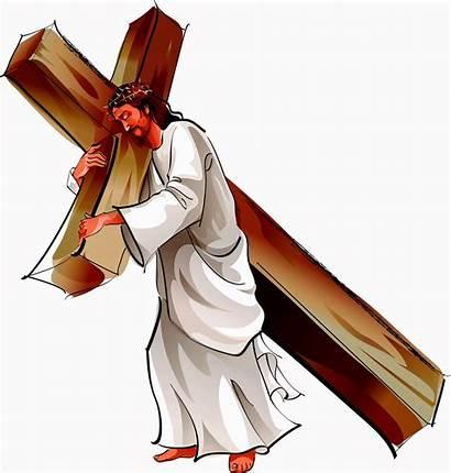 Jesus Christ Cross Carry Church Path Hold