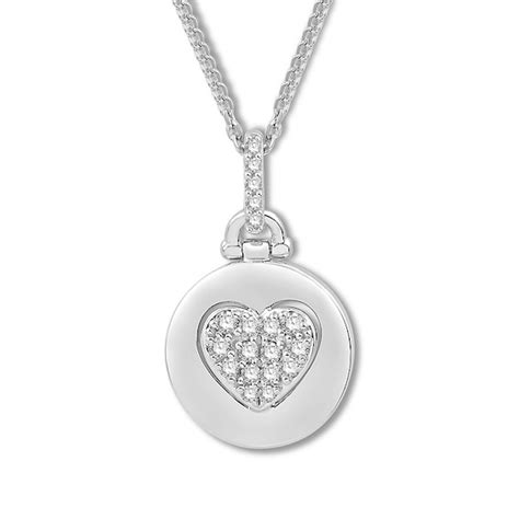 signature heart diamond necklace  ct tw sterling silver