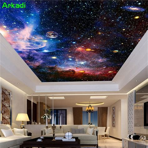 custom mural  nebulae night sky ceilings wall bedroom tv