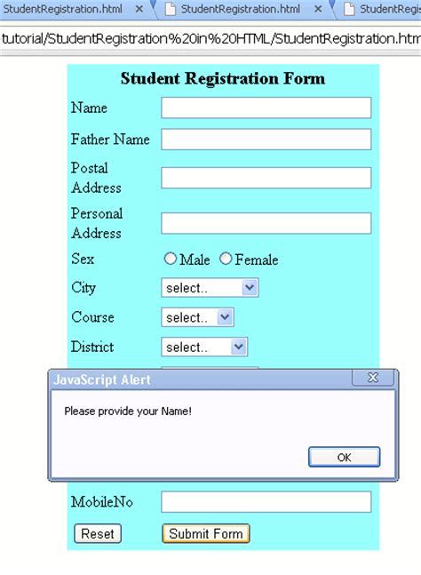 student registration form in html code