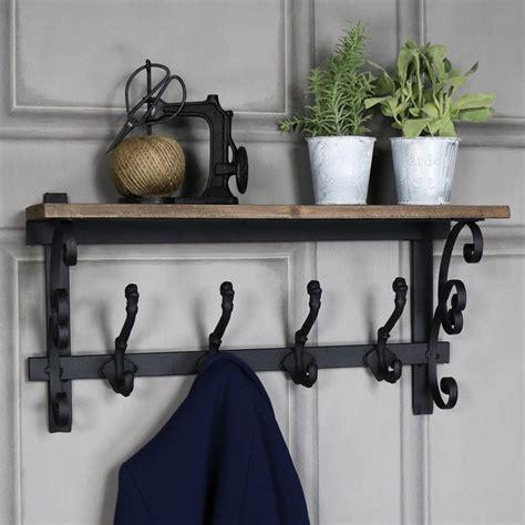 shelf with hooks ornate wooden wall shelf with coat hooks melody maison 174