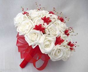 WEDDING FLOWERS POSY BOUQUET IN IVORY RED AND GOLD