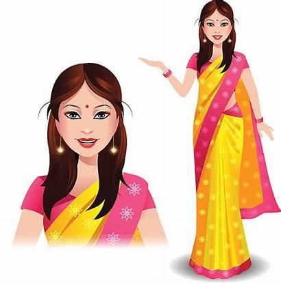 Indian Saree Woman Clipart Vector Bindi Clip