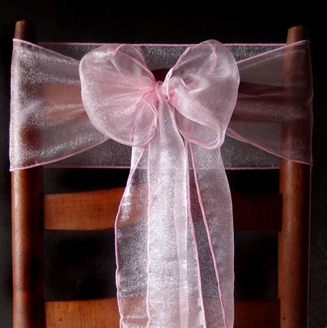 pink organza chair sashes bows table runners 6 5in x