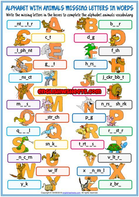 alphabet  animals missing letters  words worksheet