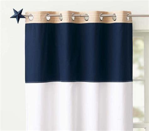 navy striped curtain panels baby boy pottery barn nursery home designer