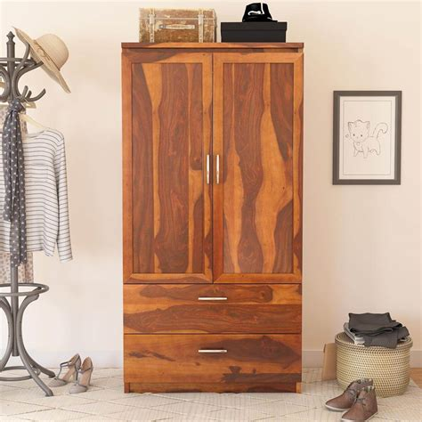 Wood Wardrobe With Drawers by Caspian Rustic Solid Wood Wardrobe Armoire With Drawers