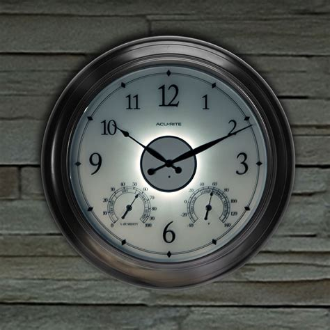 24 inch illuminated outdoor clock with temperature and