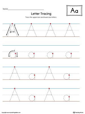 letter  tracing printable worksheet color