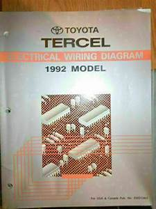 1992 Toyota Tercel Electrical Wiring Diagram Service