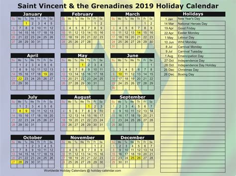 saint vincent grenadines holiday calendar
