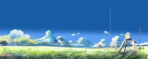 landscape anime makoto shinkai clouds field contrails