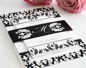 black and white wedding invitations black and white damask wedding invitations wedding invitations