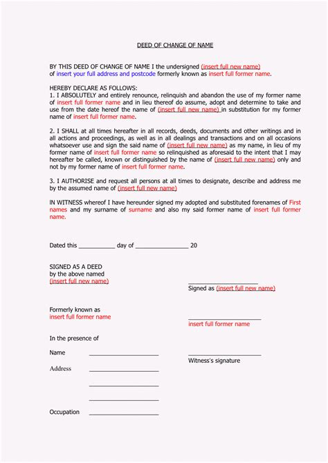 change of name deed poll template know your rights theclareproject
