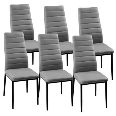 lot de 6 chaises gris iris achat vente chaise gris cdiscount
