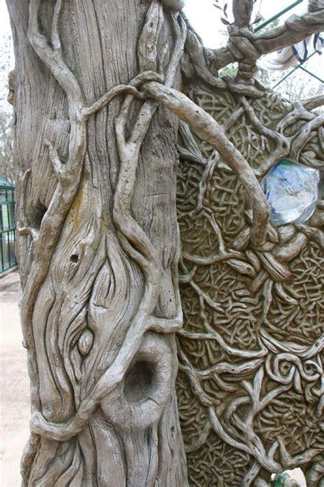 detail  fantasy faux bois cedar tree ferrocement faux