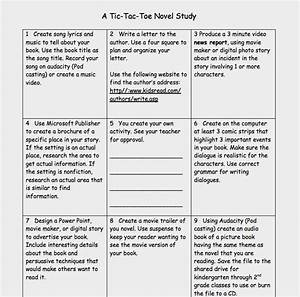 novel unit tic tac toe menu learning menus and choice With tic tac toe menu template