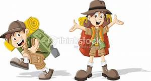 Kids In Explorer Outfit Stock Vector