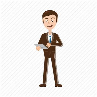 Cartoon Icon Business Businessman Tablet Adult Touch