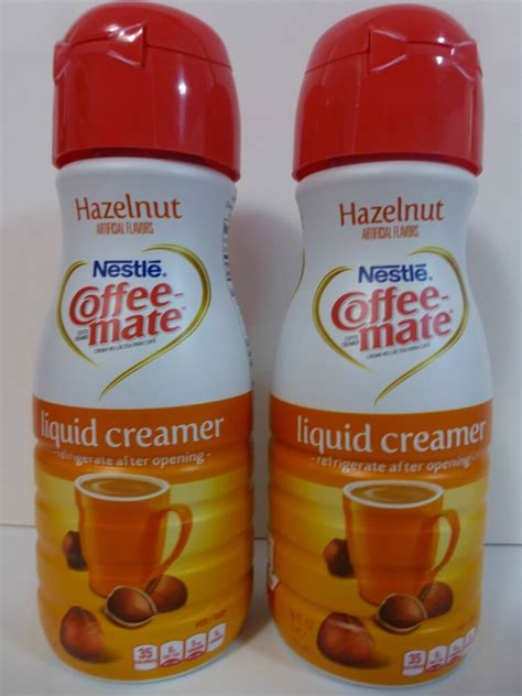 Sugar, hydrogenated vegetable oil (coconut and/or palm kernel and/or soybean). Nestle COFFEE-MATE HAZELNUT liquid coffee creamer (2 cans ...