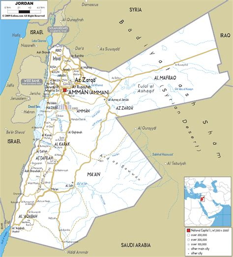 detailed clear large road map  jordan ezilon maps