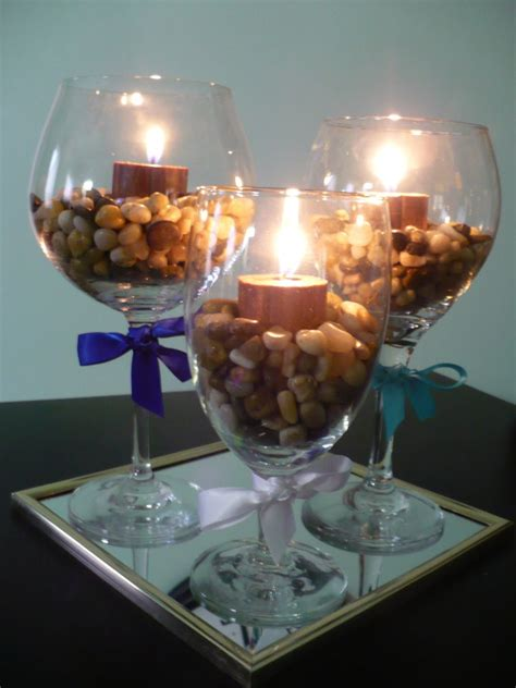 Candle Decorating With Glasses by Make A Wine Glass Centerpiece Find Projects To