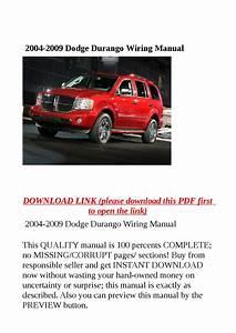 2004 2009 Dodge Durango Wiring Manual By Zrbhtdryjun6
