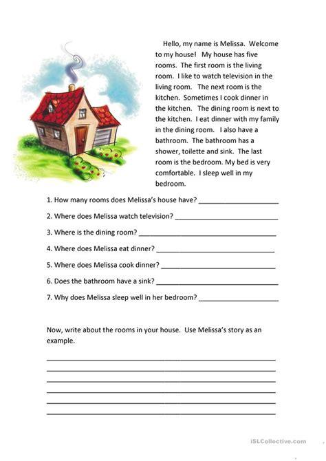 rooms   house reading comprehension worksheet