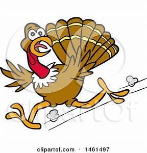 Cartoon Of A Thanksgiving Pilgrim Turkey Running With A ...