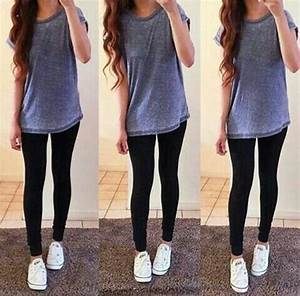 Long T-shirt with leggings and converse. Casual outfit. Everyday outfit. | u2661 Clothes and Outfits ...
