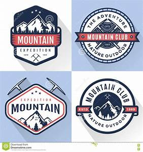 Set Of Logo, Badges, Banners, Emblem For Mountain, Hiking ...