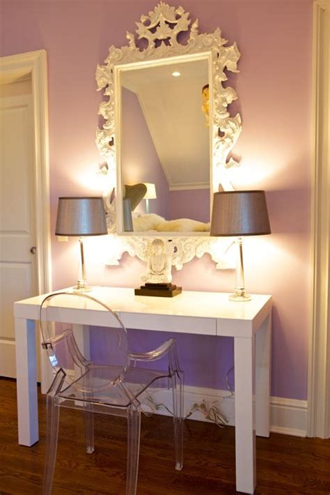 west elm glass desk lilac walls paint color white rococo mirror kartell