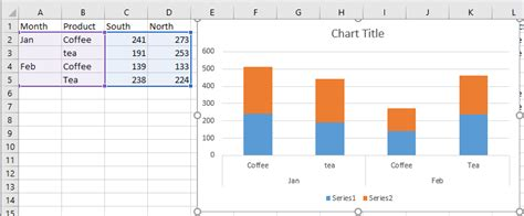 create stacked column chart   pivot table  excel