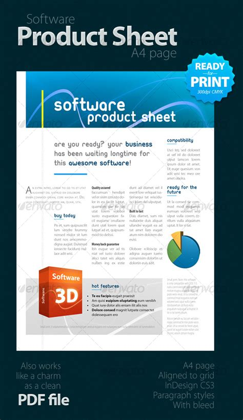 software product brochure template software product sheet a4 graphicriver