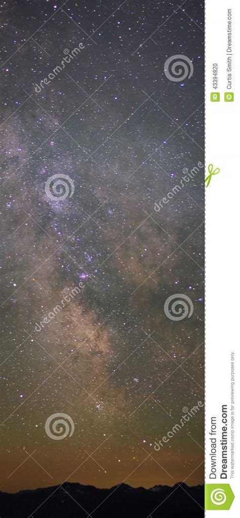 Milky Way Mountains After Sunset Stock Photo Image