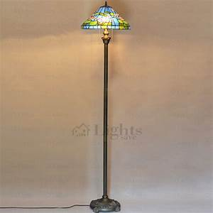 blur and green glass shade antique brass finish tiffany With floor lamp with green glass shade